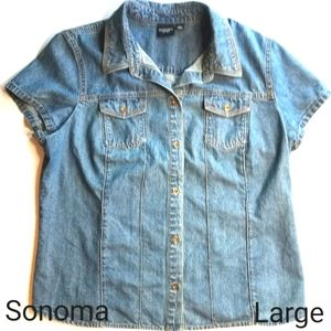 Sonoma Short Sleeve Button-up Fitted Denim Shirt